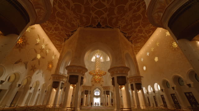 gold chandelier - grand mosque, abu dhabi - grand mosque stock videos and b-roll footage