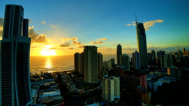 gold coast, queensland, australia sunrise time lapse: 4k - australia stock videos & royalty-free footage