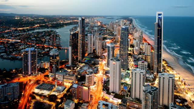 gold coast skyline - queensland stock videos & royalty-free footage
