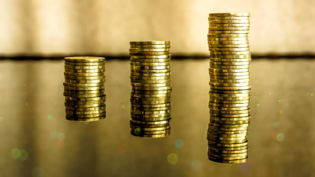 gold coin financial investment growth - stack stock videos & royalty-free footage