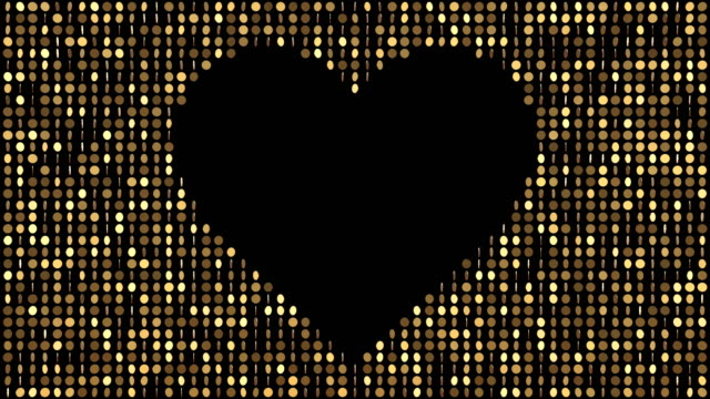 gold coins pattern with heart symbol - glitter effect (loop 4k + chroma key) - orange colour stock videos & royalty-free footage