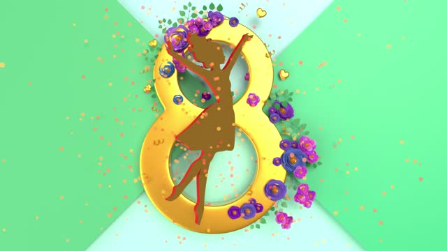gold colored number 8 and women silhouette to celebrate 8 march international women's day animation in 4k resolution - number 8 stock videos & royalty-free footage