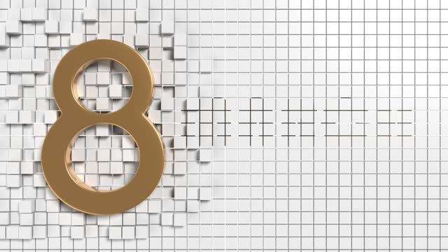 gold colored number 8 to celebrate 8 march international women's day on abstract white background animation in 4k resolution - number 8 stock videos & royalty-free footage