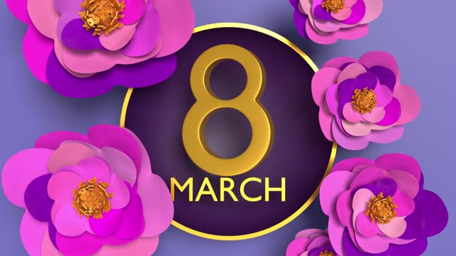 gold colored number 8 with flowers to celebrate 8 march international women's day animation in 4k resolution - number 8 stock videos & royalty-free footage