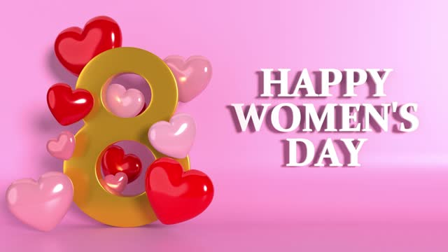gold colored number 8 with hearts falling to celebrate 8 march international women's day with female symbol animation in 4k resolution - number 8 stock videos & royalty-free footage