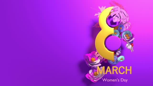 gold colored number 8 with women's day text and flowers to celebrate 8 march international women's day animation in 4k resolution - number 8 stock videos & royalty-free footage