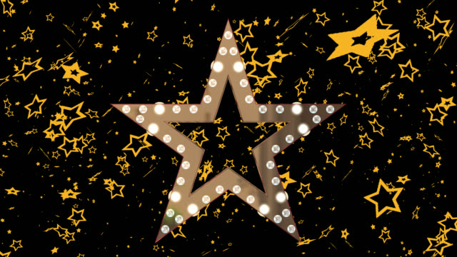 3D gold coloured star with flashing lights saved with alpha channel
