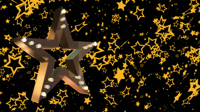 3d gold coloured star with flashing lights saved with alpha channel - johnfscott stock videos & royalty-free footage