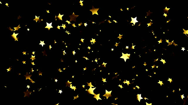gold confetti of different shapes on a black background - star shape stock videos & royalty-free footage