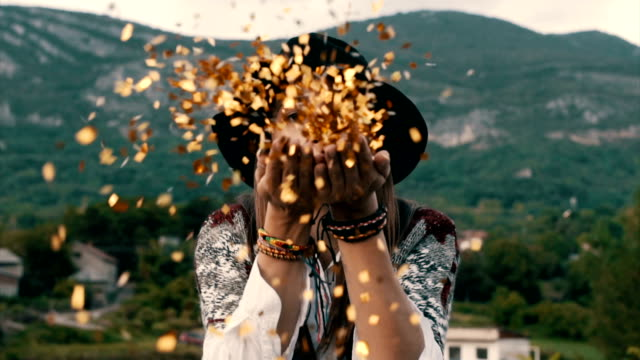 gold confetti - boho stock videos & royalty-free footage