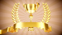 Gold cup with laurel wreath- Stock Video