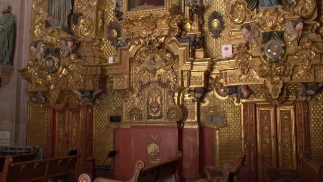 gold decorated interior, santa clara church, queretaro - christianity stock videos & royalty-free footage