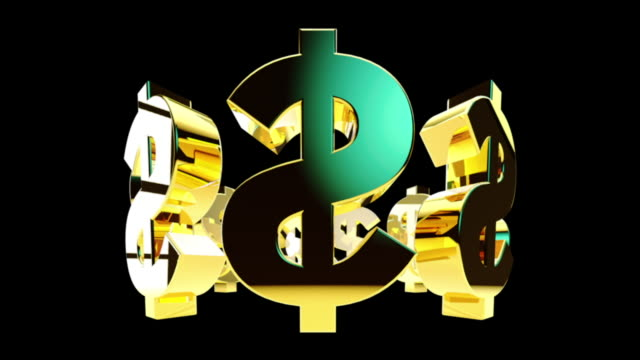 Gold dollar signs rotate around in black space.