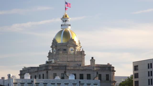 Gold dome of Savannah, Georgia atop of City Hall building