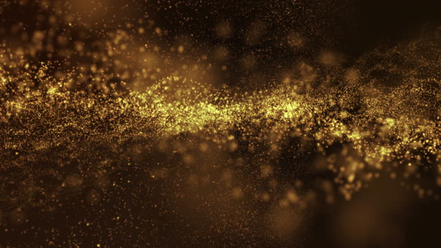 vídeos de stock e filmes b-roll de gold dust background loop flow moving. motion abstract of particles. - moldura completa