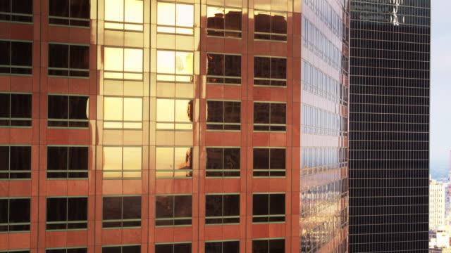 Gold Evening Light on DTLA Skyscrapers - Drone Shot