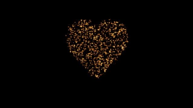 Gold heart. Fireworks of love.
