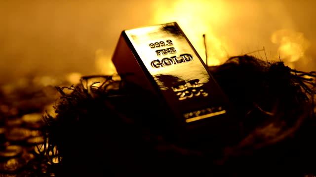 endlos wiederholbar: gold in einem nest - barren geld und finanzen stock-videos und b-roll-filmmaterial