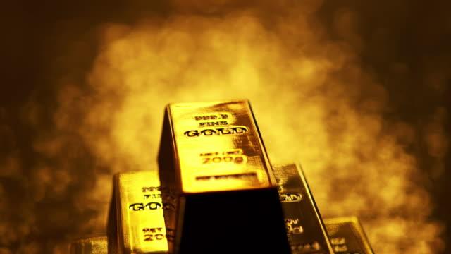 4k: gold ingots - ingot stock videos and b-roll footage