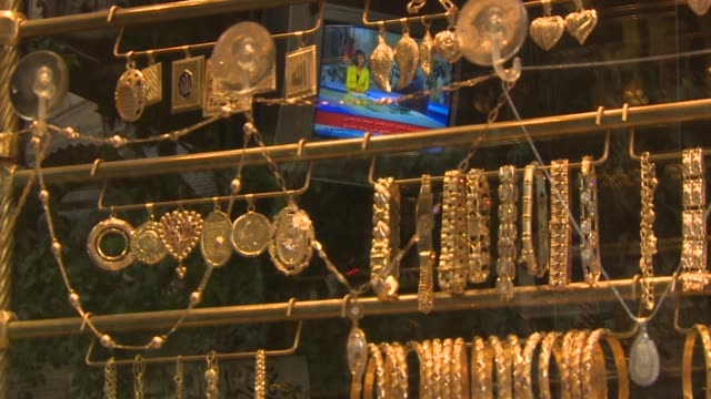 Gold jewellery for sale in AlHamidyah Souq in Damascus Syria