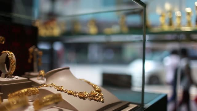 MS of gold jewelry inside the Chow Sang Sang Holdings International Ltd jewelry store in the Mong Kok district of Hong Kong China on Friday March 20...