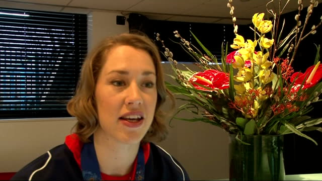 gold medal winner lizzy yarnold interview england london int lizzy yarnold interview sot cutaway close shot olympic gold medal - olympic medal stock videos & royalty-free footage