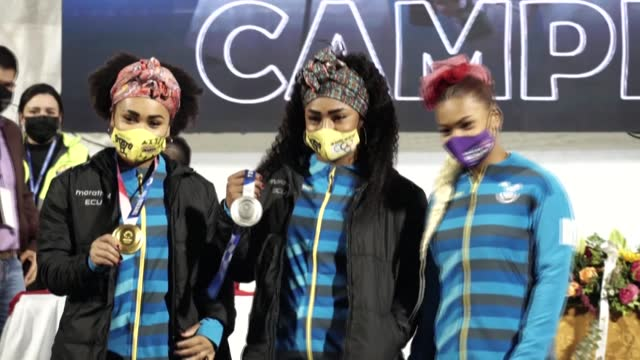 gold medalist neisi dajomes, silver medalist tamara salazar, and angie palacios, who was awarded an olympic diploma, receive a warm welcome from fans... - gold medal stock videos & royalty-free footage