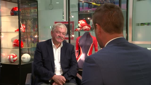 12 gold medals won by londoners rod carr interview sot cutaway with reporter - rod stock videos & royalty-free footage