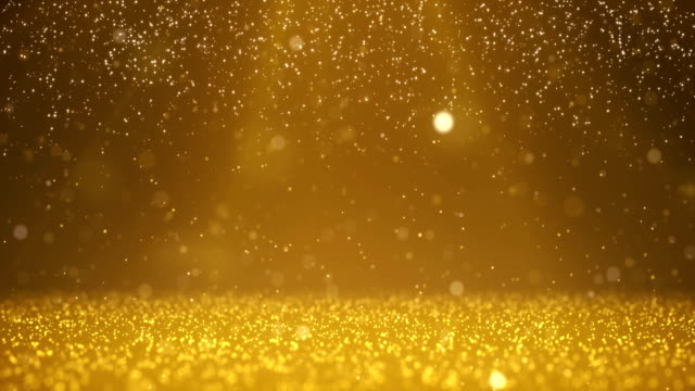 vídeos de stock e filmes b-roll de gold particles background - loopable moving image - 4k resolution - celebridade