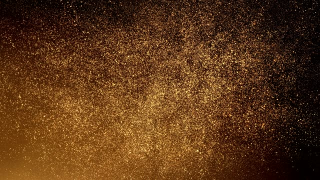 vídeos de stock e filmes b-roll de gold particles flying upwards - loop - dourado cores