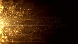 Gold Particles Moving Horizontally - Loop