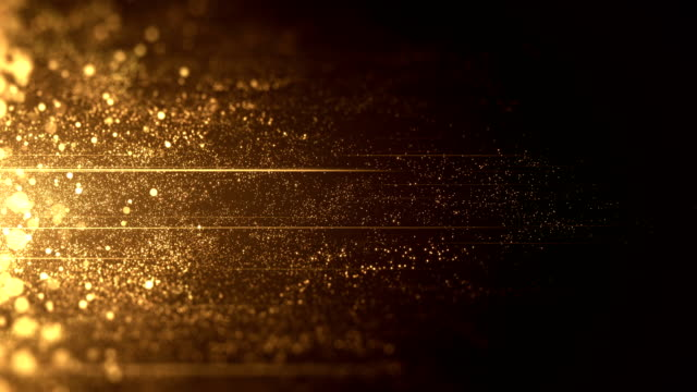 vídeos de stock e filmes b-roll de gold particles moving horizontally - loop - dourado cores