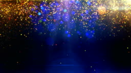 Gold particles on blue background loop
