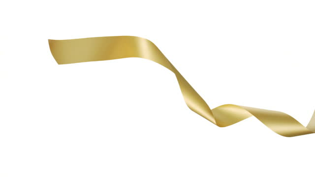 a gold ribbon on white background, for celebration events and party for new year, birthday party, christmas or any holidays, waiving and curling in super slow motion and close up - banner sign stock videos & royalty-free footage