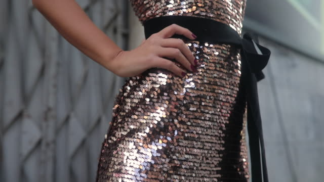 gold sequin dress - dress stock videos & royalty-free footage