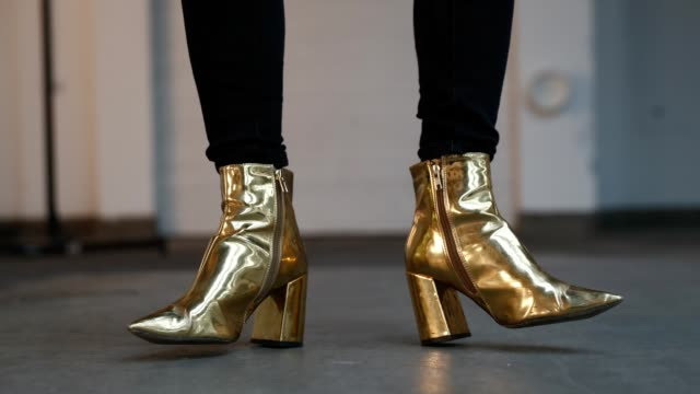 gold shoes during london fashion week men's june 2019 on june 9 2019 in london england - gif file format extension stock videos & royalty-free footage