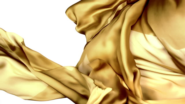 gold silky fabric flowing and waving horizontally in super slow motion and close up, white background - plain background stock videos & royalty-free footage