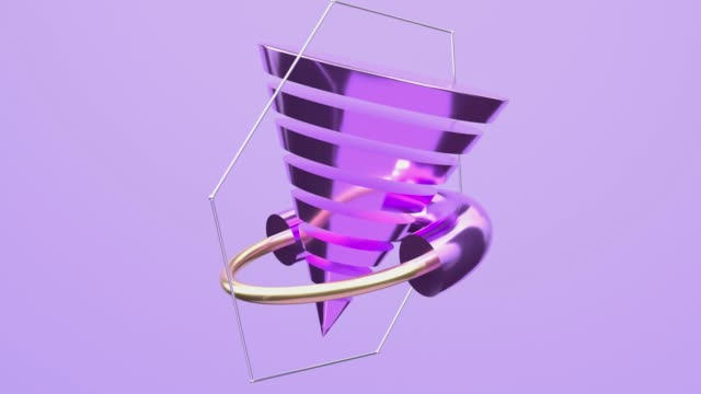 gold silver purple glossy metallic shape levitation spinning abstract motion 3d rendering - zero gravity stock videos & royalty-free footage