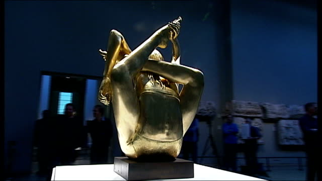 gold statue of kate moss unveiled at british museum england london british museum int **music partly overlaid on following shots sot** general views... - statue stock videos & royalty-free footage