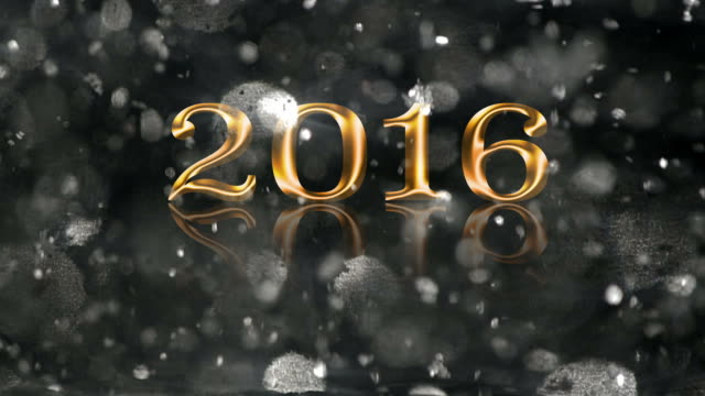 2016 gold text silver snow glitter new year banner animation - 2016 stock videos and b-roll footage