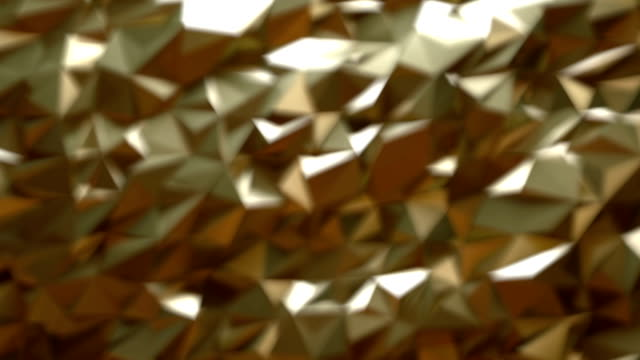 Gold triangles bokeh lights loop background