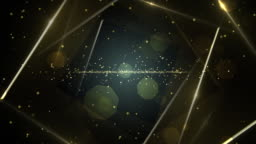 Gold virtual abstract background space tunnel with neon line lights.