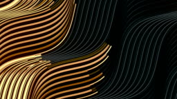 Gold wave bend motion lines on dark background for cover design. Beautiful luxury pattern. Gold glowing wave. 3d rendering digital seamless loop animation. HD resolution
