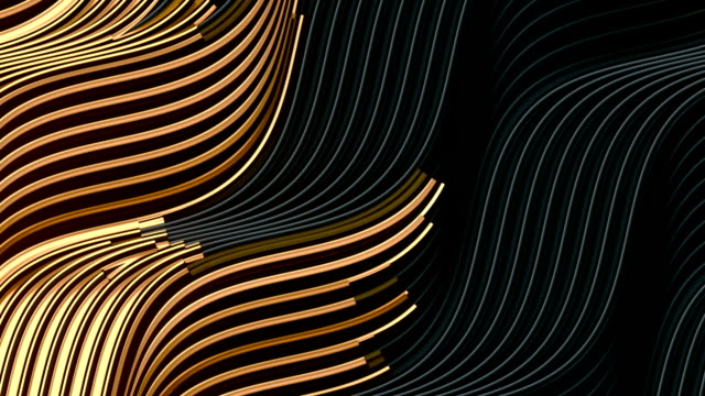 gold wave bend motion lines on dark background for cover design. beautiful luxury pattern. gold glowing wave. 3d rendering digital seamless loop animation. hd resolution - curve stock videos & royalty-free footage