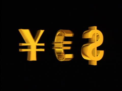 "stockvideo's en b-roll-footage met cgi gold yen, euro + dollar symbols rotating against black background / spell out word ""yes"" - kleine groep dingen"