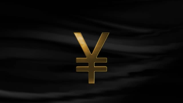 gold yen sign or yuan symbol is turning with waving black cloth background in 4k resolution - yen symbol stock videos & royalty-free footage