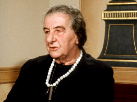 golda meir interview; b: england: london: dorchester hotel:london int golda meir : sof: 'there were some formulations ........yes, that's right'.... - peter snow stock videos & royalty-free footage