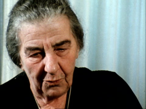 """golda meir interview; israel: jerusalem: her office in jerusalem: int golda meir sof: """"what are we expected... - ピーター・スノウ点の映像素材/bロール"""