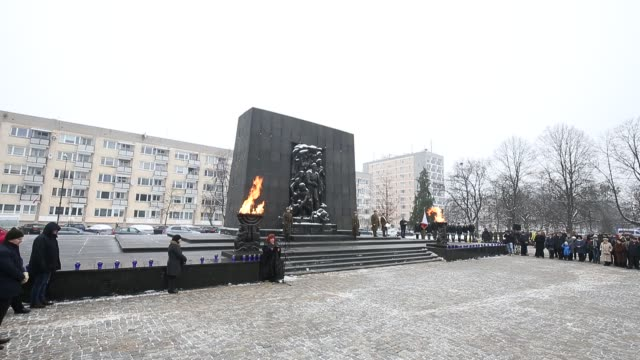 golda tencer, director of the shalom foundation speaks during the international holocaust remembrance day commemoration at the ghetto heroes monument... - international holocaust remembrance day stock videos & royalty-free footage