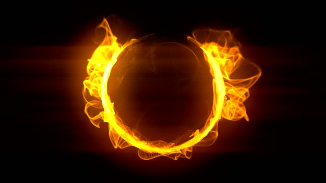 Golden abstract burning fire circle loopable background footage